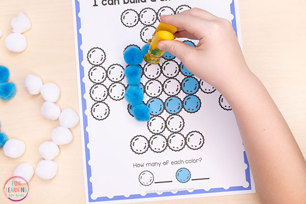 Winter fine motor printable mats for preschool and kindergarten.