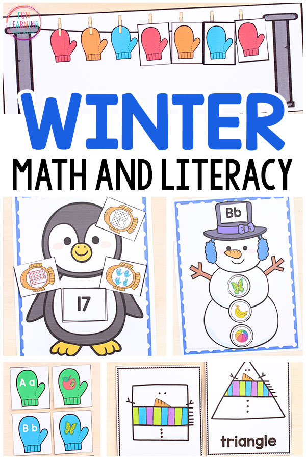 Winter math and literacy activities for kids in preschool, kindergarten and first grade.