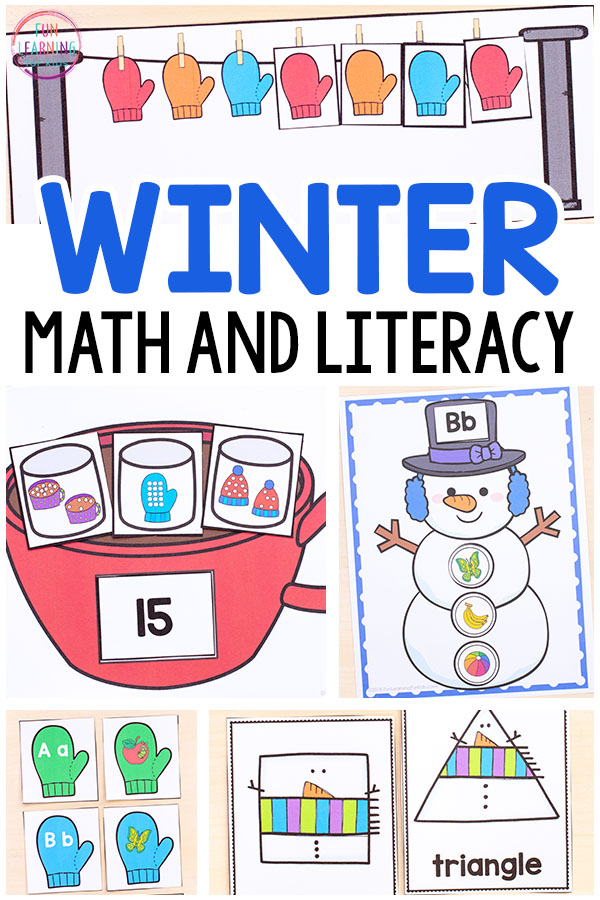 Winter math and literacy activities that are perfect for winter centers in preschool, kindergarten and first grade.
