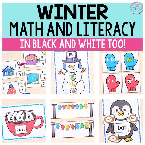 Fun, winter activities for your math and literacy centers. Snowman activities, penguin activities, hot chocolate activities, mitten activities and more!