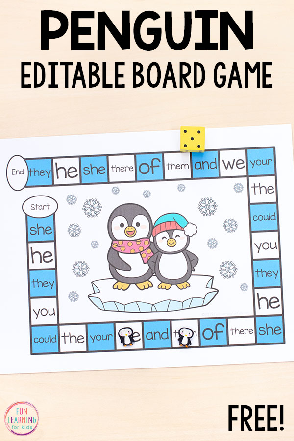 This penguin sight word game is editable and such a fun way to learn sight words this winter.