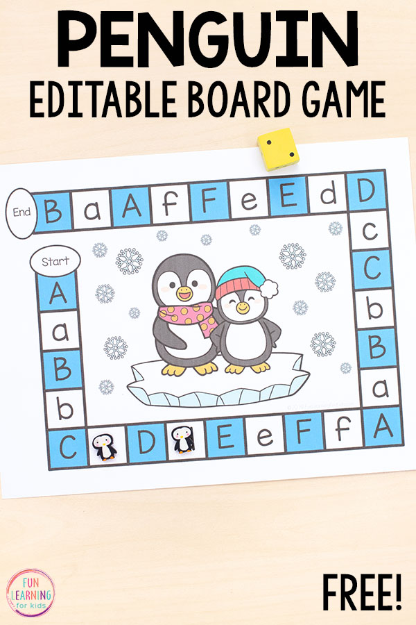 If you are looking for penguin activities, this editable board game is perfect for you.