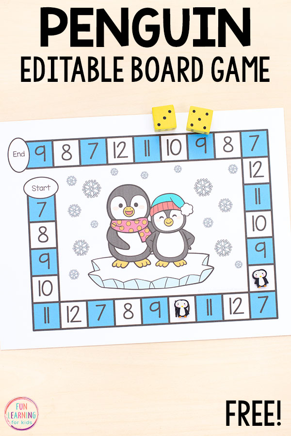 Practice addition and other math facts with a fun editable penguin board game.