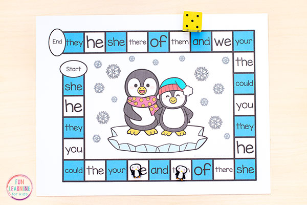 A fun editable sight word game for your literacy centers this winter.