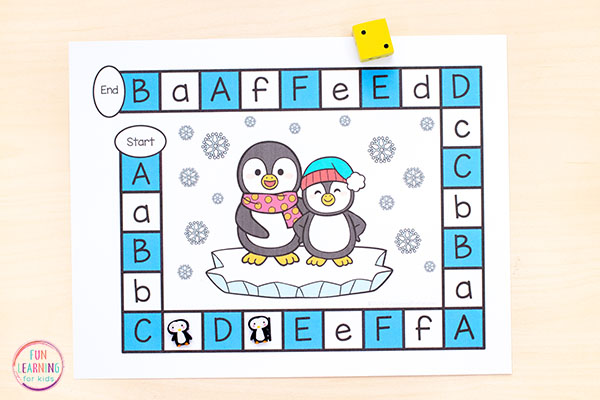 Learn letters and letter sounds with a penguin alphabet game.