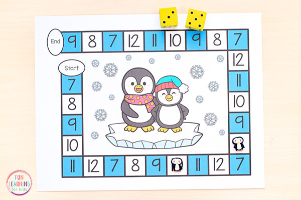 Learn numbers, practice counting and develop number sense with a fun penguin math activity.