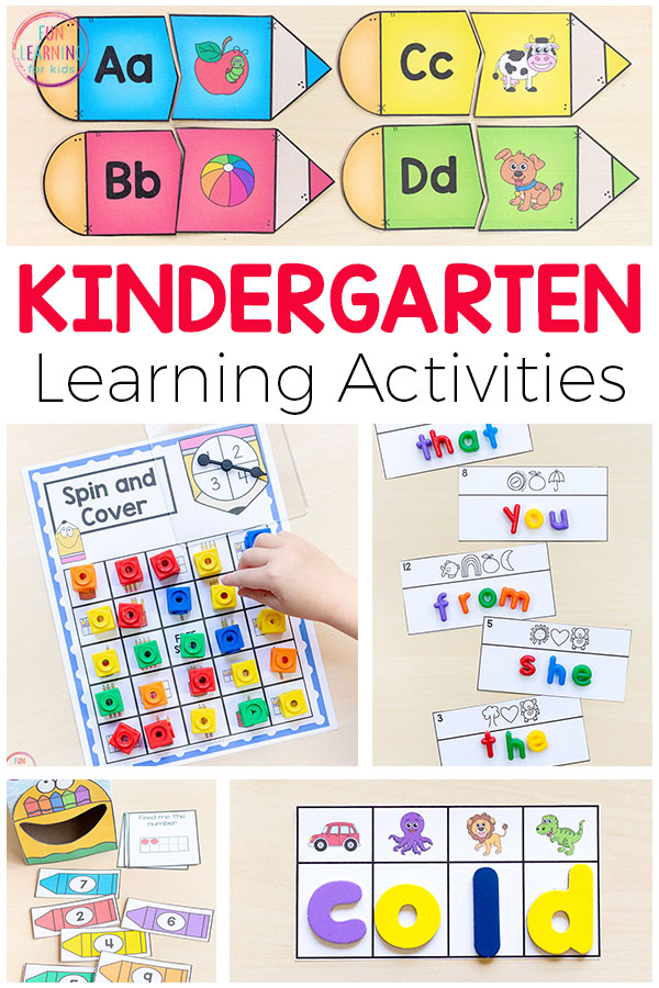Fun kindergarten activities. Sight words, letter sounds, number sense, math facts, phonics and more!