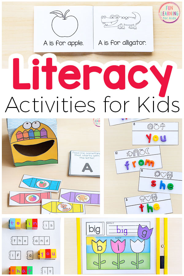 Lots of fun literacy activities for kids. Everything from alphabet to sight words to writing to phonics to spelling and more!
