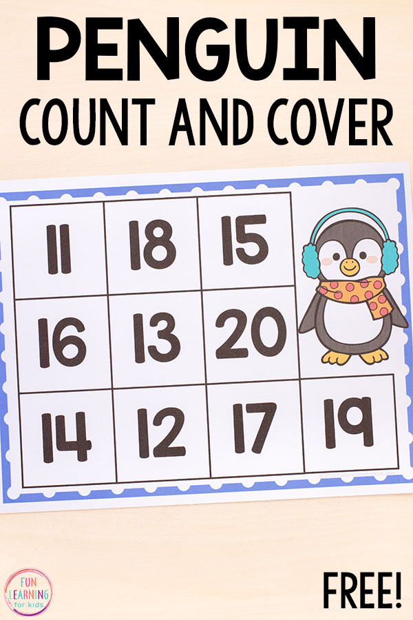 Learn to count teen numbers through 20 with a hands-on winter math activity printable!