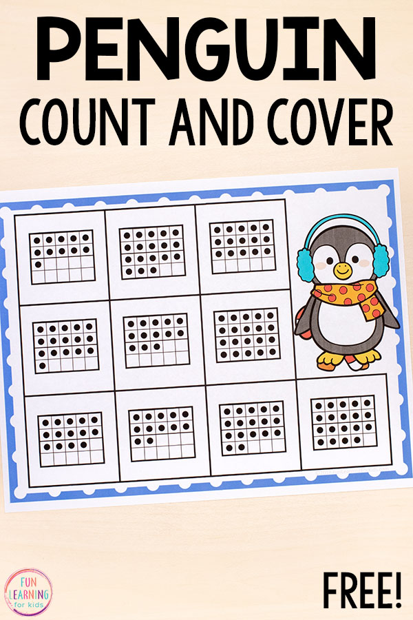 Develop number sense and learn to count to 20 with a fun kindergarten penguin math activity for winter.