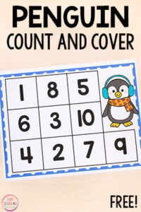 Grab these penguin count and cover mats and practice counting in preschool and kindergarten. Learn numbers 1-20.