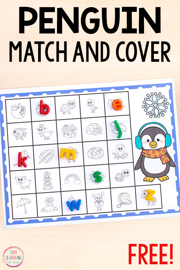 These penguin match and cover mats are perfect for alphabet and literacy centers. Use these to teach letter sounds and letter identification.