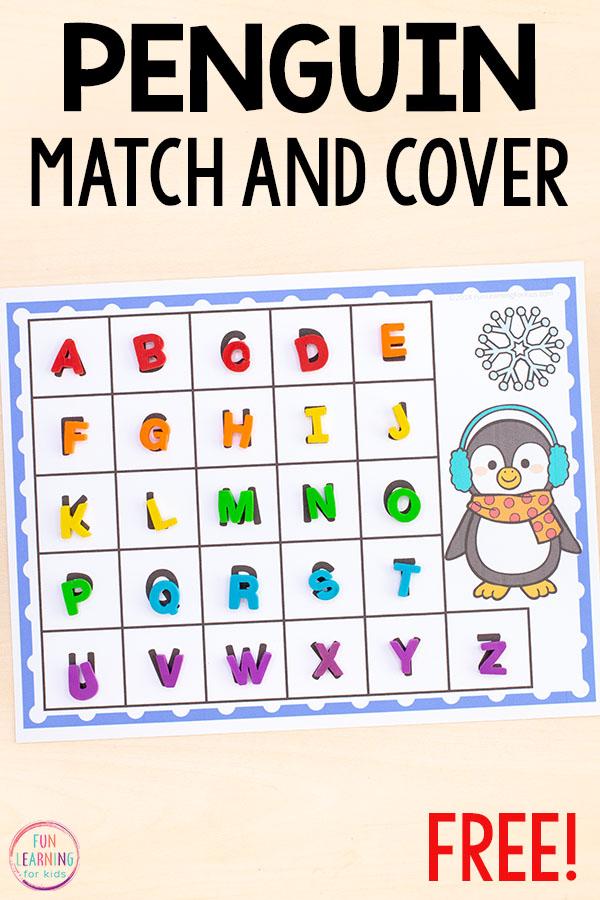 A fun penguin alphabet activity for preschoolers and kindergarten students.
