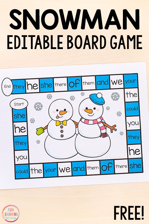 This editable snowman board game is a fun way to reinforce literacy and math skills in a fun way this winter.