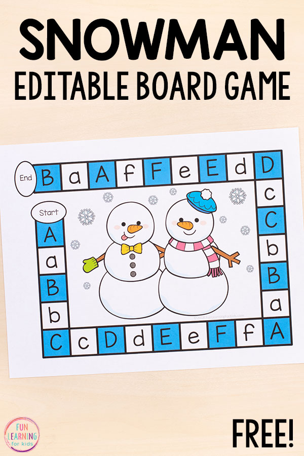 Teach the alphabet and letter sounds with a fun snowman board game!