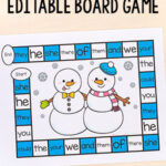 Editable Snowman Board Game