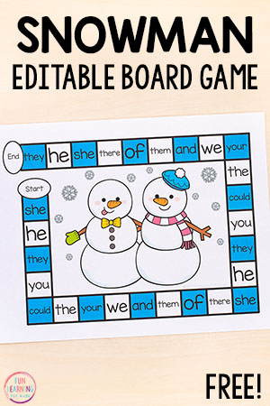 A fun editable board game for winter math and literacy centers in kindergarten, preschool, first grade and second grade.
