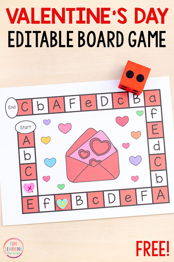 Editable Valentine's Day board game alphabet activity.