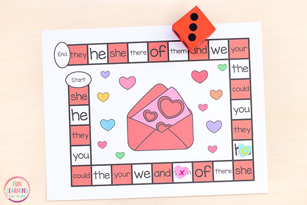 Teach sight words with a fun editable board game.