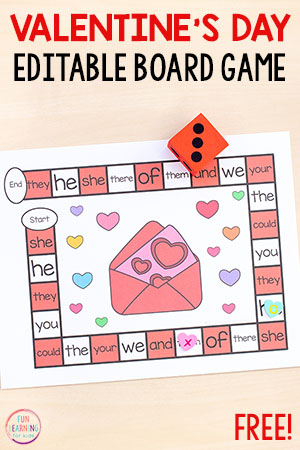 Editable Valentine's Day board game for math and literacy centers.