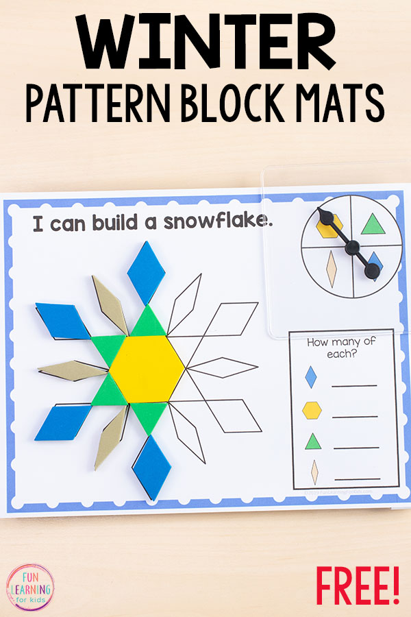 Winter pattern block mats will make learning about shapes fun and engaging!