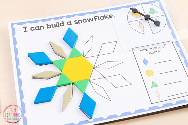 Make learning shapes and geometry fun with these spin and cover winter theme pattern block mats.