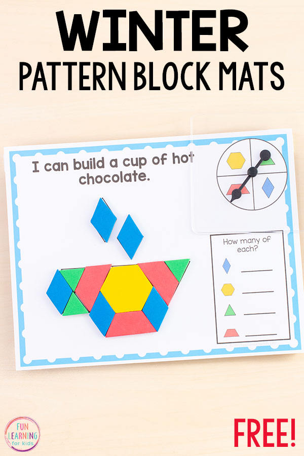 Spin and cover pattern block mats are so much fun and the perfect winter math activity to teach shapes.