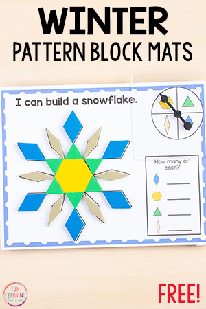 Grab these winter pattern block mats and add them to your winter math centers in preschool, kindergarten, first or second grade!