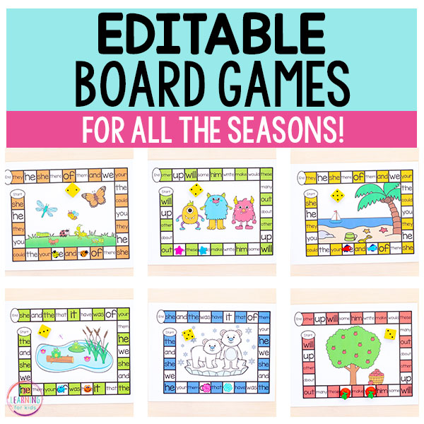 These editable board games make differentiation so easy and so fun! Teach sight words, spelling words, math facts, letters and more!