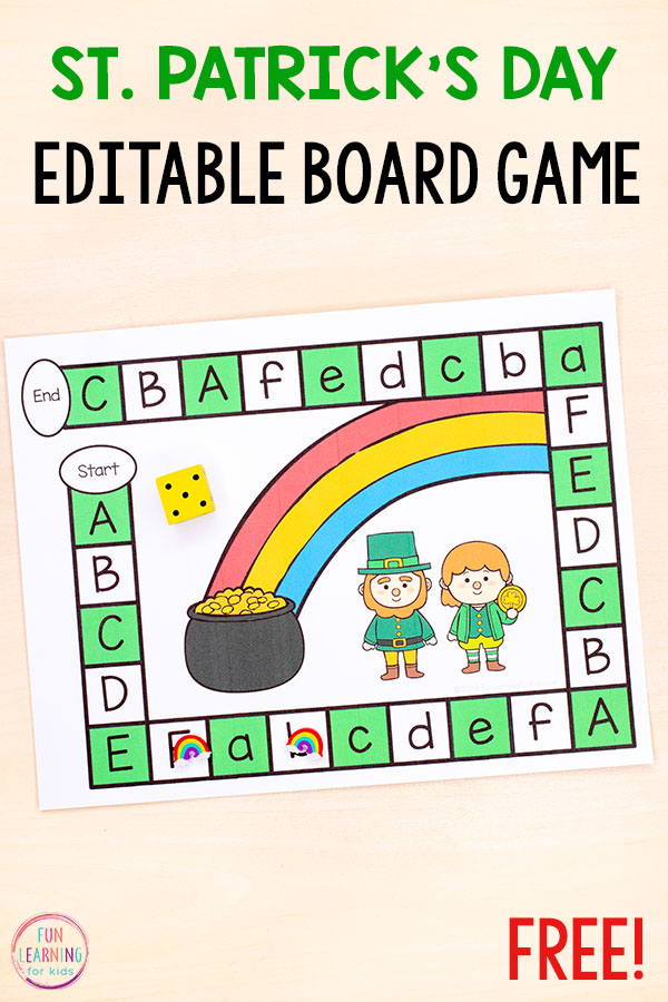 A fun editable board game for St. Patrick's Day. Use it to teach letters and letter sounds in your alphabet centers.