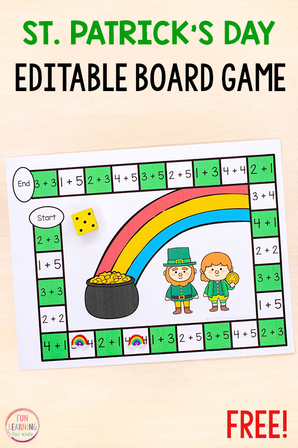 A fun St. Patrick's Day game for kids to learn math facts, numbers and more! Add them to your math centers this spring!