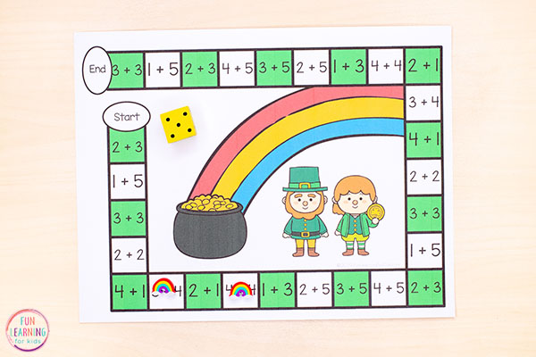 Use this editable board game to teach math facts this St. Patrick's Day.