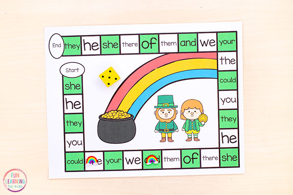 The kids will love this editable St. Patrick's Day board game. It's perfect for learning sight words!