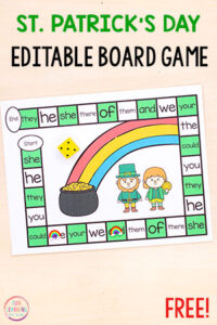 This editable St. Patrick's Day board game is a fun way to learn sight words and other literacy skills this spring!