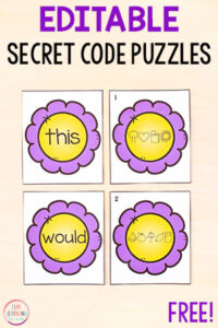Teach sight words with flower secret code matching puzzles that are editable and easy to use!
