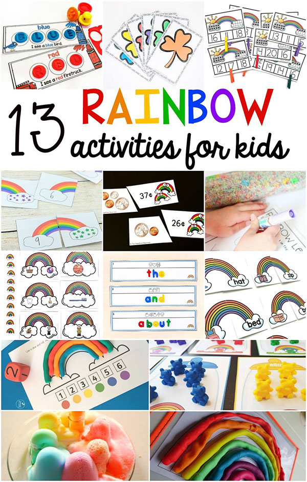 Fun rainbow theme activities for kids.