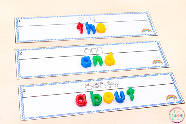 A fun rainbow theme editable printable for literacy centers this spring.