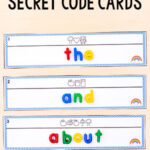 Rainbow Secret Code Word Cards Editable Printable