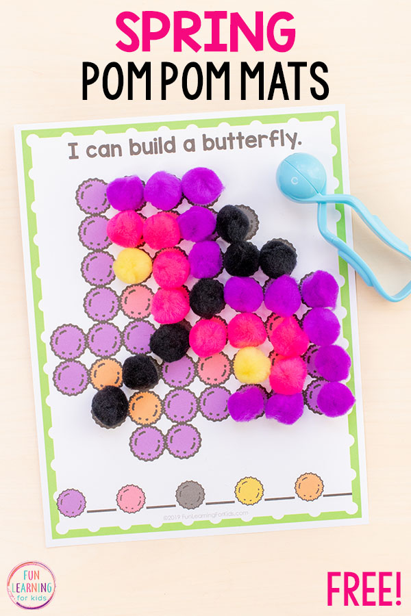 Spring butterflies fine motor activity with pom poms. This is perfect for your spring fine motor stations.