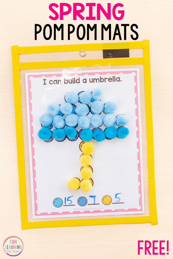 Spring showers umbrella fine motor activity to develop fine motor skills in preschool and kindergarten.