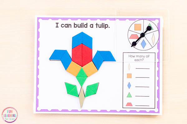 Make lots of spring objects with these fun spring pattern block mats.