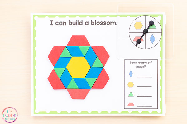 Spring theme pattern block activities.