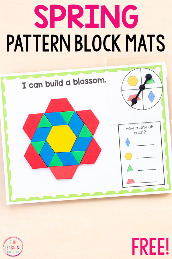 These spring pattern blocks mats are so fun and perfect for spring math centers!