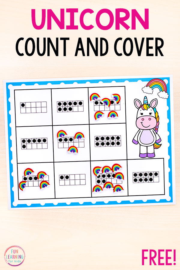 Unicorn counting activity mats for numbers 1-10.