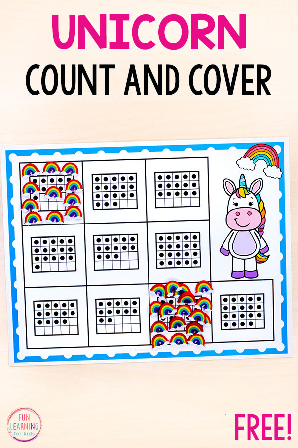 This unicorn math activity is perfect for preschool and kindergarten math centers.