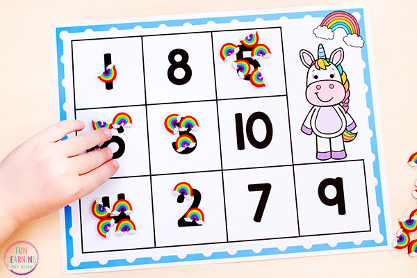 Rainbow unicorn counting activity for math centers.