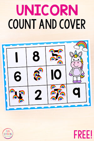Unicorn counting activity for preschool and kindergarten. Perfect for a rainbow theme or unicorn theme.