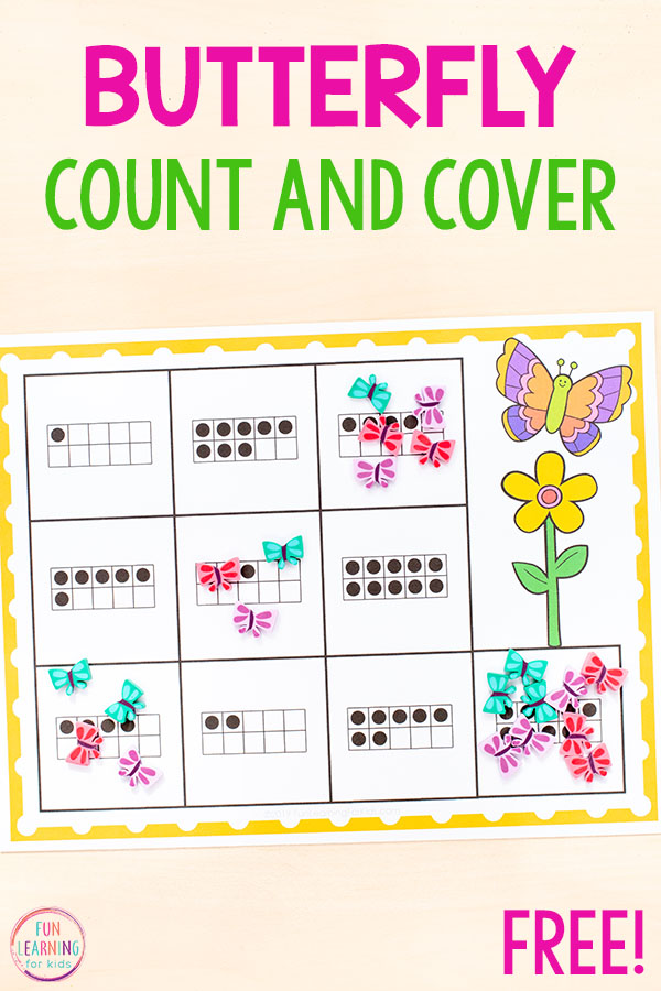 A spring counting activity for preschool and kindergarten.