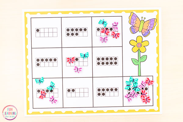 Learn numbers and counting with a fun butterfly counting activity.