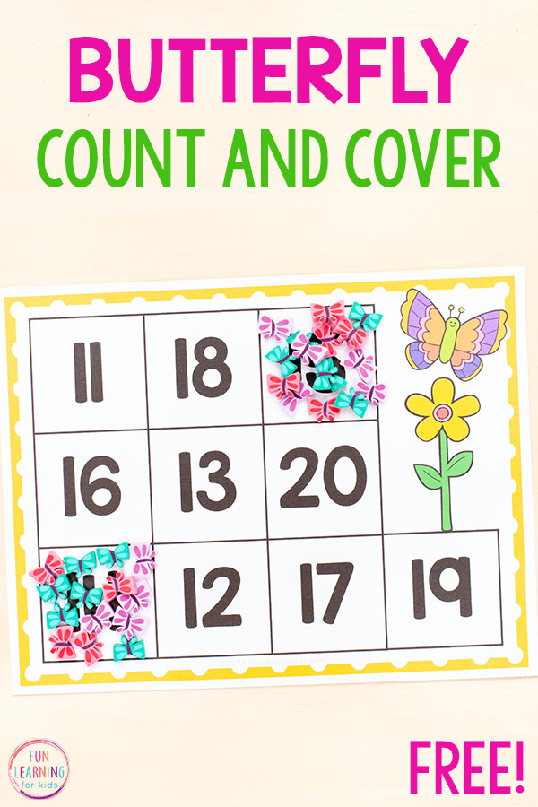 Spring butterfly counting activity that teaches numbers and counting.